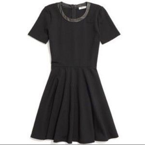 Madewell Leather Trim Fit Flare Dress